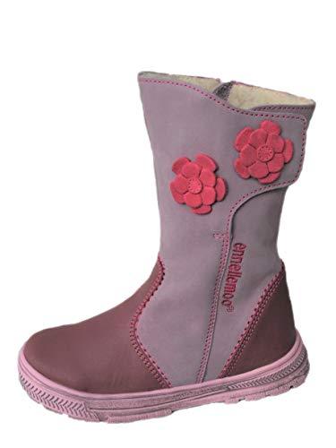 ennellemoo®-Mädchen-Kinder-Stiefel aus echt Leder-Vollleder-Schuhe mit warmen Kunstfell-Reiß + Klettverschluss- Premium Shoes! (35 EU, Purple/Pink)