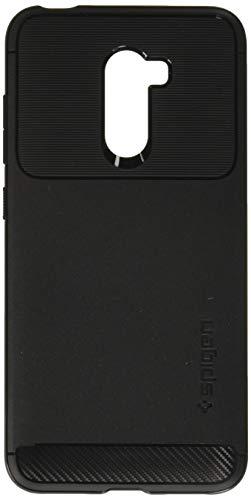 Spigen [बीहड़ कवच कवर Xiaomi Pocophone F1 लचीला रेजिन अवशोषण एयर कुशन प्रौद्योगिकी और संरक्षण कार्बन फाइबर डिजाइन Pocophone प्रकरण F1 - काला