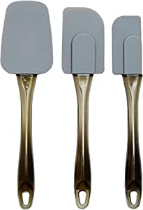 AmazonBasics Silicone Spatula Set, 3-Pieces, Grey