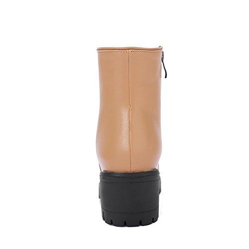 Unita Tinta Rotonda Stivali Zip Tacco Corretta Per Avere Donna Voguezone009 Beige Una Pelle v8xFq7nzwa