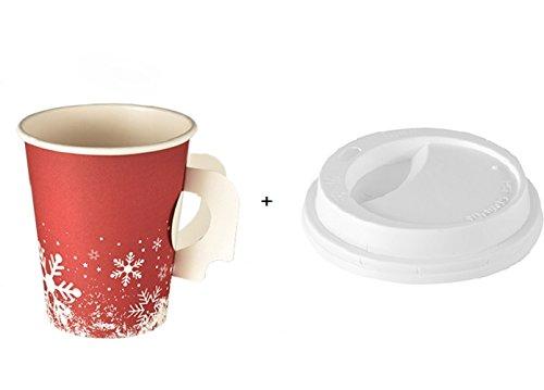 """100 Trinkbecher mit Henkel + Deckel, """"Winter Time"""" Pappe 0,2 l Cafe to go Kaffeebecher, Hartpapierbecher mit Griff Pappbecher Thermobecher, Glühweinbecher Weihnachtsmarkt Weihnachtsfeier, extra dickwandige Becher für Kalt- und Heißgetränke wie Punsch, Glühwein, Kaffee, Tee,"""