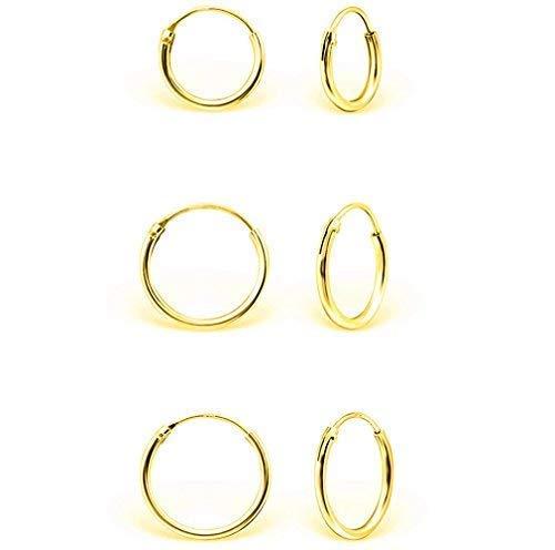 DTPsilver - Damen - Klein Creolen - Ohrringe 925 Sterling Silber und Gelb Vergoldet Set Paare 3 - Dicke 1.5 mm - Durchmesser 8, 10, 12 mm