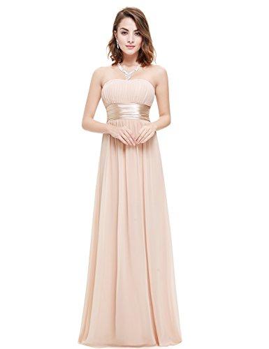 Ever-pretty abito da sera donna lungo senza spalline impero damigella d'onore rosa nudo 38