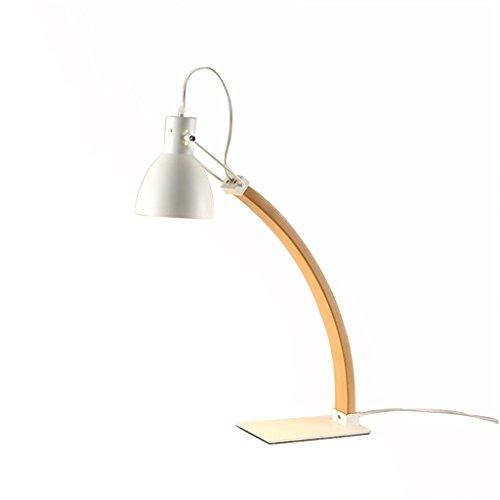 Uus Tischlampe Eiche Eisen Holz Schlafzimmer Nachttischlampe E27 Bulb Base 13 * 56cm (energiesparende A +) (Farbe : Weiß, größe : 13 * 56cm) -
