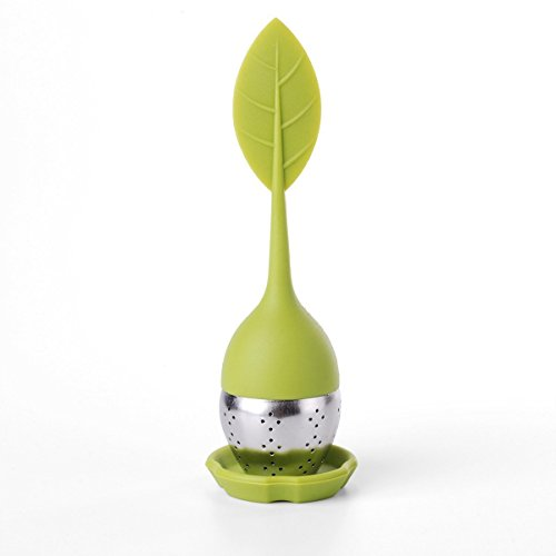 2 Stck Tee-Ei Tea Infuser Leaf Strainer Handle with Steel Ball Silicone eaf Lid (grün) M-HG038 By Xcellent Global