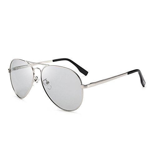 SUNGLASSES Schnell wechselnde Farbe für Männer und Frauen mit dem gleichen Absatz Fahren Sonnenbrille stilvolle Bunte Spiegel (Farbe : Silver Frame Discoloration)
