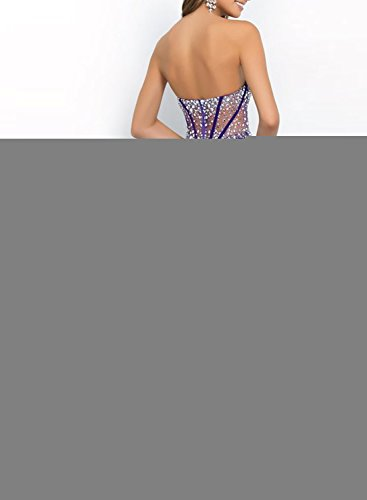 Azbro Women's Fashion Rhinestone Trim Strapless Prom Dress Deep Purple