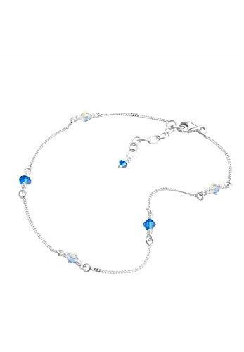 Elli Damen Echtschmuck Fußschmuck Fußbändchen mit Swarovski Kristallen blau in 925 Sterling Silber Länge 25 cm