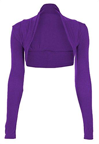 NEW Mesdames à manches longues Boléro Boléro court Uni Viscose Jersey Haut Taille Violet
