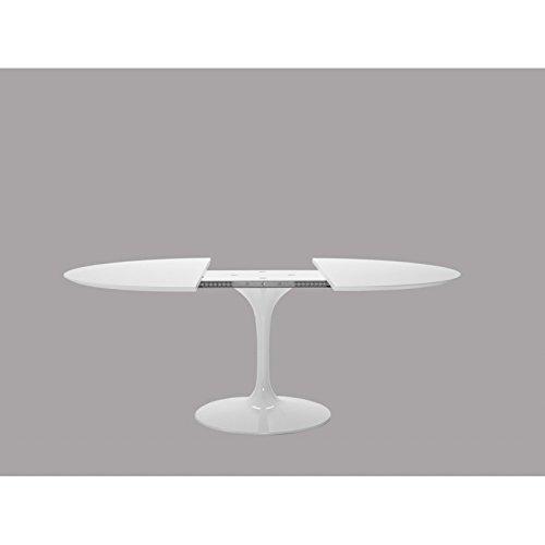 Holz-laminat Base (Tavoli.Design Tulip Tisch Eero Saarinen ausziehbar Durchm 107cm Laminat Flüssigkeit weiß Base weiß)