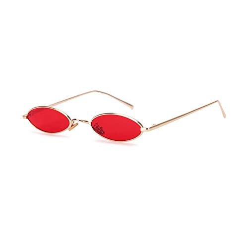 QDE Sonnenbrillen Small Oval Sunglasses for Women Men Retro Metal Glasses Transparent Red Pink Yellow Lens Uv400 Women's Sunglasses,Red