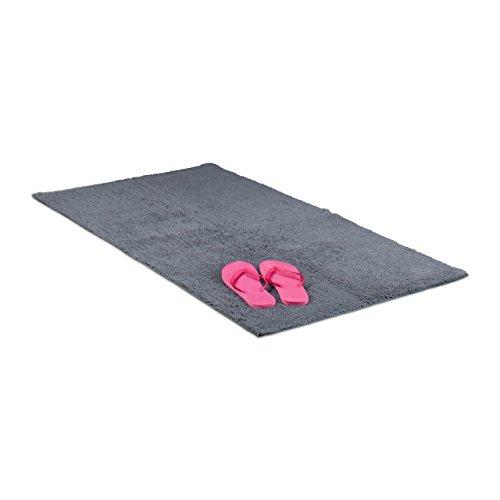 Relaxdays Badteppich 70 x 120 cm, Badematte waschbar, Badvorleger für Fußbodenheizung, grau