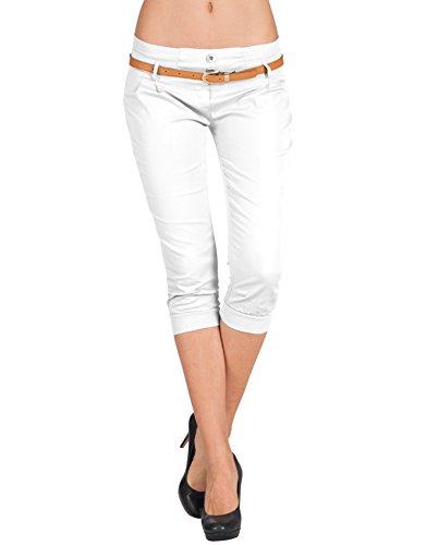 Zarlena Damen Chino-Hose Capri Hose mit Gürtel Stoffhose 3/4 Sommerhose CTS-WHT-S