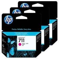 1x Original HP 711 CZ135A - 3er Pack - Magenta