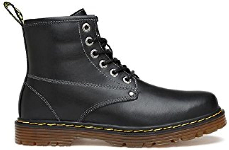YFF Echtes Leder Winter warm Ankle Boots für Männer Runder Schnürschuhe