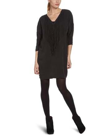 SELECTED FEMME Damen Kleid (knielang) 16028937 TILLA 3/4 DRESS, V-Ausschnitt Schwarz (Black) 16