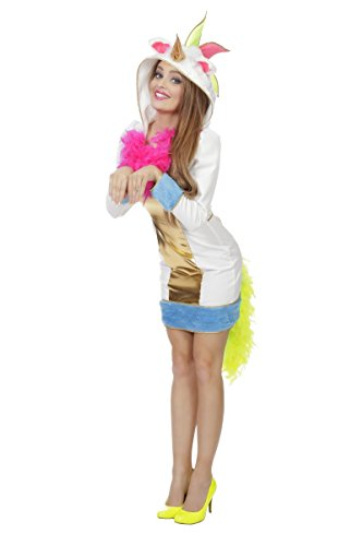 Damen Kostüm magisches Regenbogen Einhorn Karneval Gr.40 (Magische Einhorn Für Erwachsene Kostüm)