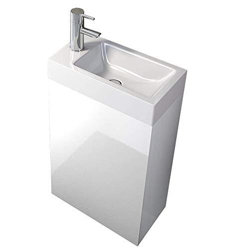SAM Waschplatz Vega, Kleiner Waschtisch 40 x 22 cm, Weiß Hochglanz, Tür mit Push-Open-Funktion, Keramikbecken -