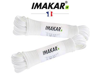 IMAKAR® Corde à linge en acier 20M X 2,6 mm (BLANC). Une corde à étendre très robuste et résistante aux conditions météorologiques.