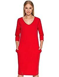 f3b87ba397ae MAKADAMIA® Ladies Plain Casual Knee Length Tunic Work Office 3/4 Sleeve  Scoop Neck