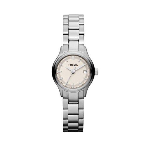 Fossil Archival Mini ES3165 - Reloj analógico de cuarzo para mujer, correa de acero inoxidable color plateado