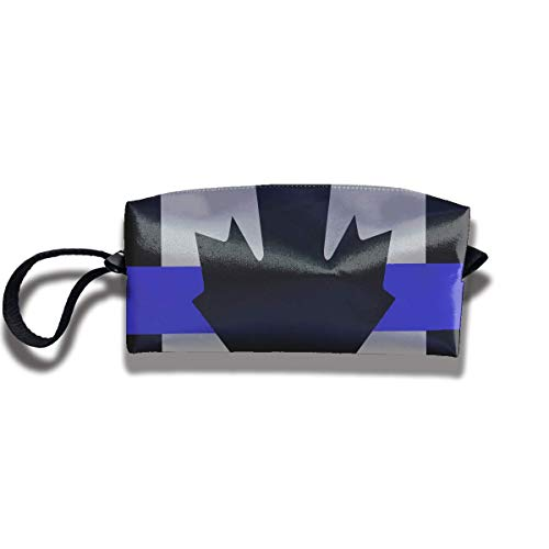 Canada Thin Blue Line Flag Print Fashion Cosmetic Pouch Bag Storage Jewelry Pouch Travel Cosmetic Bag Pouch with Zipper