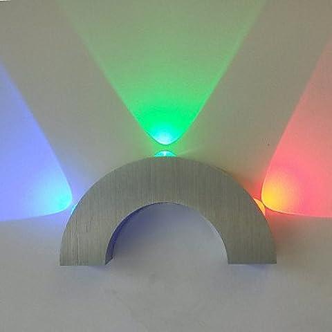 lampada da parete ad arco led tre luci blu rosso