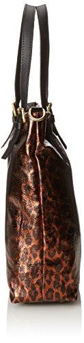 CTM Borsa a mano da donna, vera pelle made in Italy con manici e tracolla 38.5x36x11 Cm Bronzo