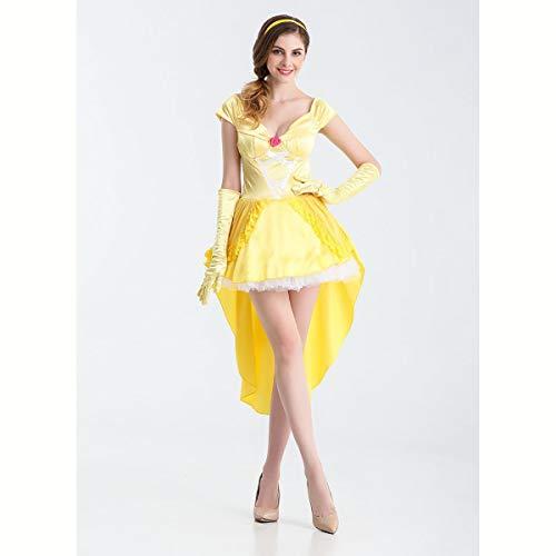 Für Kostüm M&m Erwachsene Gelb - HIZZEEN Halloween Belle Gelbes Kleid Cosplay Prinzessin Partei-Kostüm-Märchen-Bilderbuch-Ausstattungs-Frauen,M