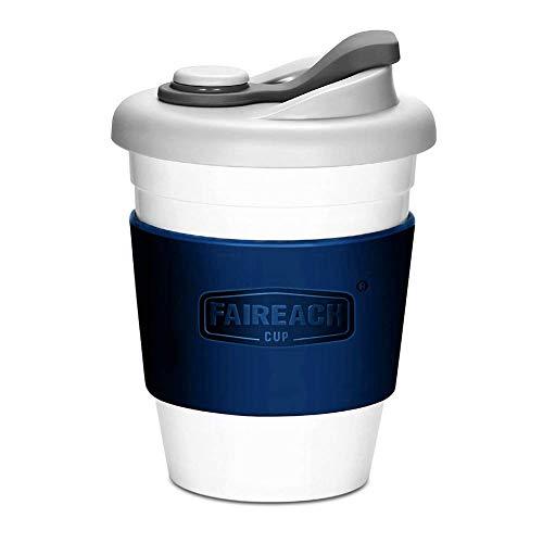 Taza de Café para llevar con Tapa, Taza de Café Reutilizable Faireach con Manga Antideslizante, taza de café portátil de Viaje con sin BPA, Apto para lavavajillas y microondas, 340ml (12 oz, Azul)