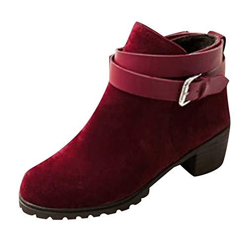 TianWlio Stiefel Frauen Herbst Winter Schuhe Stiefeletten Boots Mode Kurze Stiefeletten Schnalle- Riemen Mitte Ferse Winter Römische Schuhe