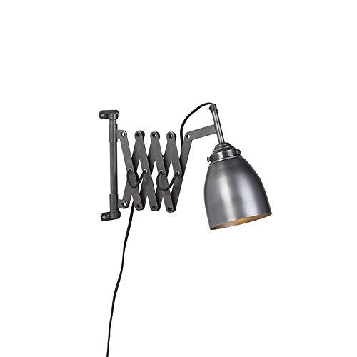 QAZQA Industriel Applique Murale vintage extensible zinc antique - Scissors Acier Gris Oblongue/Bio E27 Max. 1 x 40 Watt/Luminaire/Lumiere/Éclairage/intérieur/Salon/Cuisine