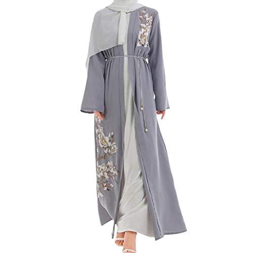 GJKK Muslimische Roben Muslimische Kleider Elegante Stickerei Muslimisch Dubai Kleid Moslemisches Arabisches Nahöstliches Langarm Robe Kleid