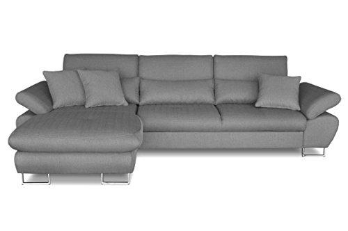 Windsor & Co Gauche Convertible Canapé d'Angle, Tissu, Gris Clair, 285 x 175 x 95 cm