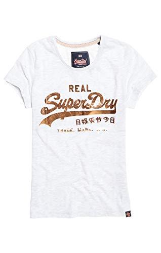Superdry Damen Pullunder Vintage Logo Metalwork Entry T Grau (Ice Marl 54G) Small (Herstellergröße: 10)