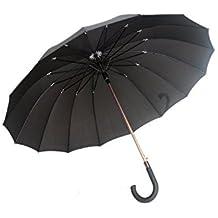 Gran paraguas automatico - Largo con 16 costillas - negro