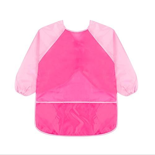 Sanmum Malschürze Kinder 1-12 Jahre, Malkittel/Bastelschürze/Langarm Kittel/Wasserdichter Schürze für Jungen und Mädchen (Rose+Pink Ärmel e,L) -