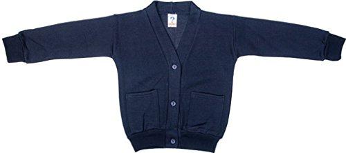Schule Uniform Mädchen Formelle tragen zwei Fronttasche Warm Fleece Sweat Cardigan Gr. 2-3 Jahre, Blau - - Schule Navy Uniform