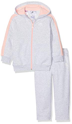 adidas Baby 3 Stripes Full Zip Hooded Fleece Trainingsanzug, Light Grey Heather/Haze Coral/White, 92 Stripe Zip Fleece