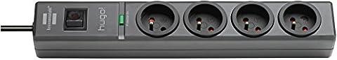 Hugo. Brennenstuhl Mehrfachsteckdose, mit 4Steckdosen, 2m Kabellänge, H05VV-F 3G1,5,mit Überspannungsschutz, 19,500A, grau,