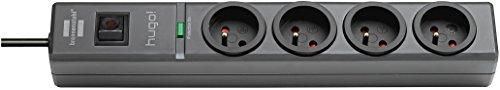 Brennenstuhl Prolongateur multiprise hugo! avec parasurtenseur 19500 A, bloc de 4 prises avec câble H05VV-F 3G1,5 de 2 m de long, anthracite, Quantité : 1