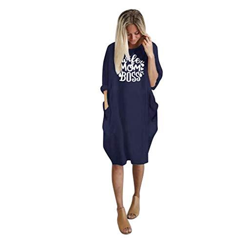 Fuibo Damen Pullover Damen Übergroße Baggy Langarm Tasche Pullover Minikleid Sommerkleider Damen Kurzarm Kleider Abendkleid Knielang (M, Navy) (Kurzarm-pullover Navy)