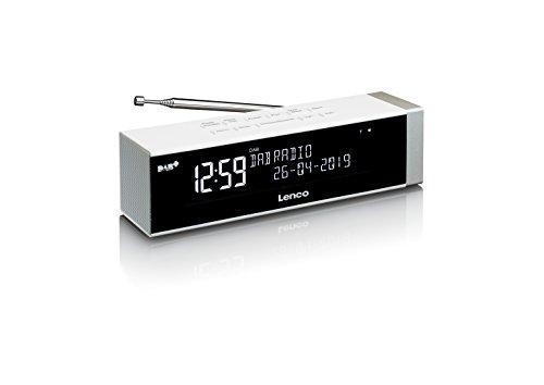 Lenco Radiowecker CR-630WH Stereo DAB Digitalradio mit UKW Tuner (Senderspeicher, dimmbar, USB-Lader, Kopfhörer-Anschluss), Weiß