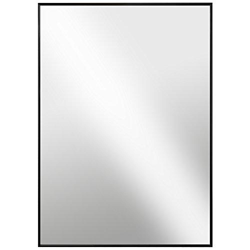 Designer-wand-mount (Raphael Rozen Glaspendel Modern gerahmt Wand montiert Metall Spiegel, 20x30 Black Glossed Aluminum)