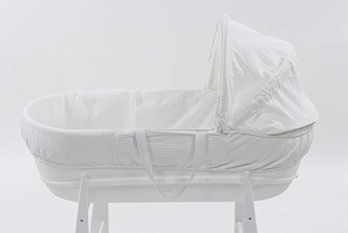 Shnuggle Moses Basket with White Waffle Cotton Dressing, Hood and Mattress - White Basket  Shnuggle Classic Moses Basket with stay up hood Hypoallergenic and easy to clean Super strong and long lasting 4