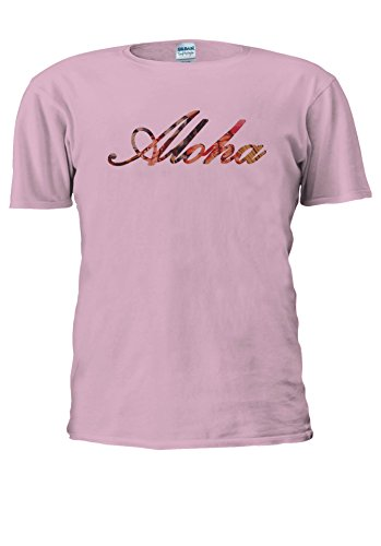 Aloha Pin Up Girl Hawaii Hipster Novelty Men Women Unisex Top T Shirt-XXL (Rosa T-shirt Hawaii-womens)