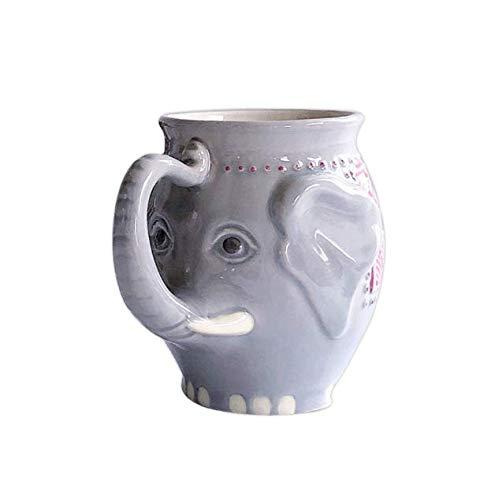 HJLHFD Tazas De Cerámica Taza De Café Elefantes En Forma De Modelado Niños Taza De Leche Taza De Porcelana Auspiciosa Post Rápido 450Ml