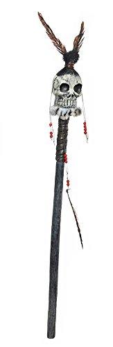Halloween Hexendoktor Kostüm - Voodoo Priester Stab mit Totenkopf - 100 cm - Zauberstab zu Hexendoktor, Zigeuner oder Halloween Verkleidung