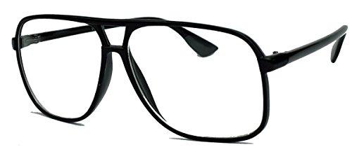 Preisvergleich Produktbild Old School Brille für Damen o Herren oversized rechteckig 80er Jahre Brillengestell als Sonnenbrille oder Nerdbrille mit Klarglas F75 (Schwarz / Klarglas)