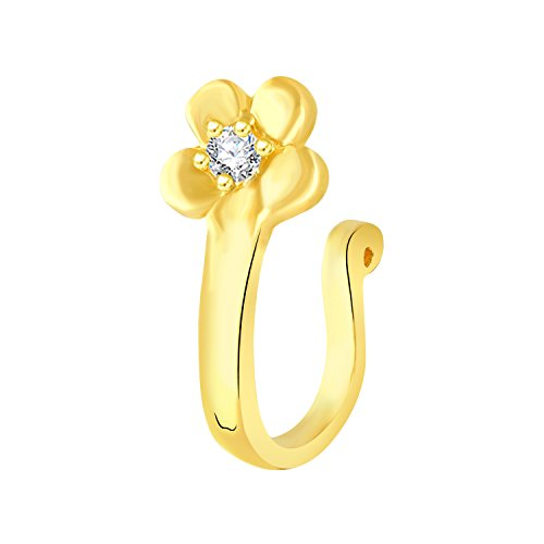 VK Jewels Gold Plated Alloy CZ American Diamond Pressing Nose Ring,Nose Pin for Women - [VKNR1020G]  available at amazon for Rs.159